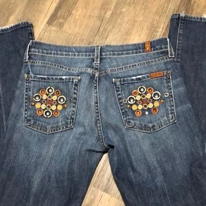 7 For All Mankind  bootcut embellished jeans SZ 28
